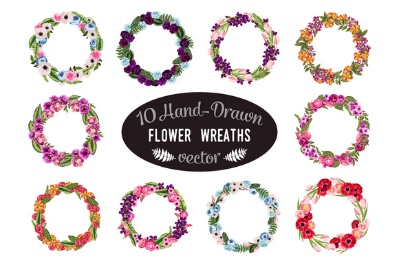 10 Hand-Drawn Flower Wreaths