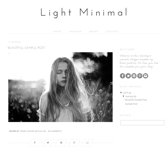 Blogger Template Light Minitmal
