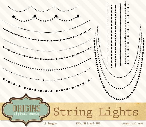 String Of Lights Beads Clipart