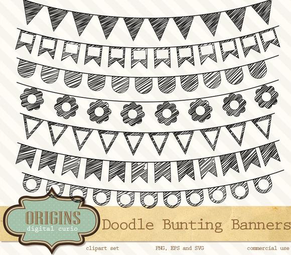 Doodle Bunting Banners Clipart