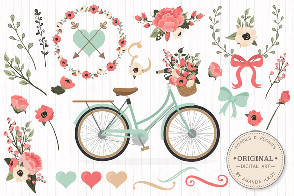 Mint Coral Floral Bicycle Extras