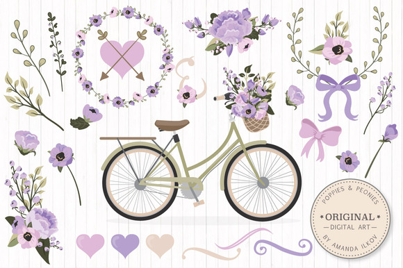Lavender Bicycle Flower Vectors