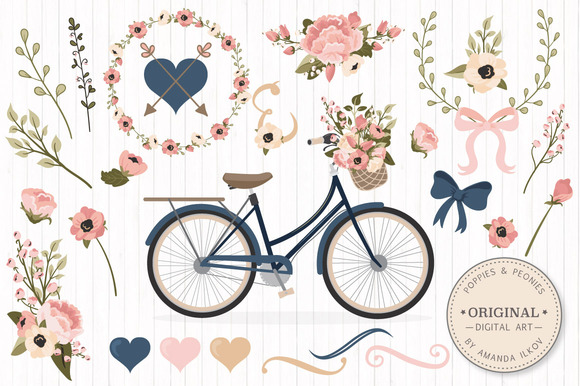Navy Blush Floral Bicycle Extras