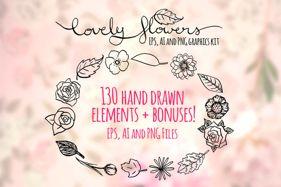 130 Lovely Flowers Graphics Set