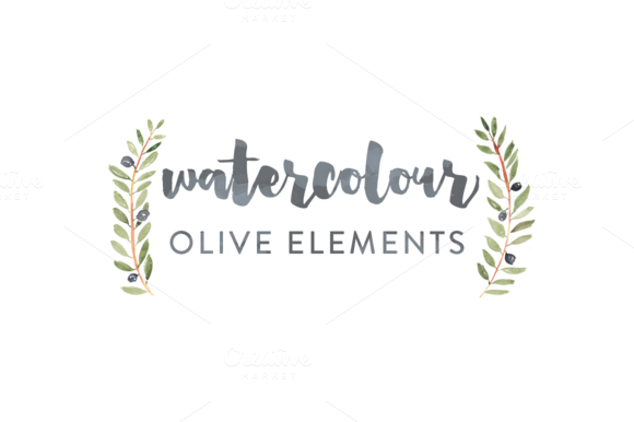 Olive Watercolour Elements