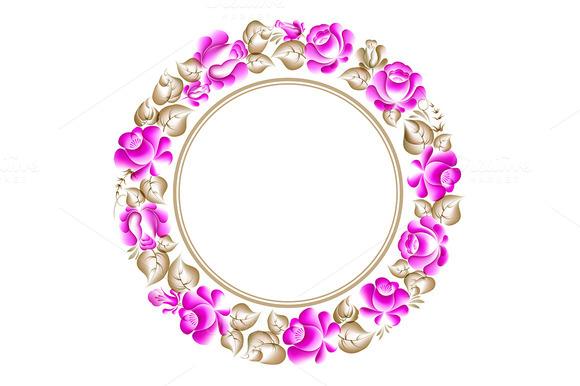 Gzhel Style Circle Frame