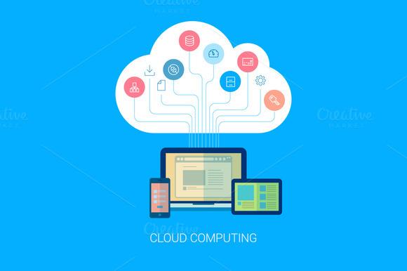 Flat Style Cloud Computing Icon
