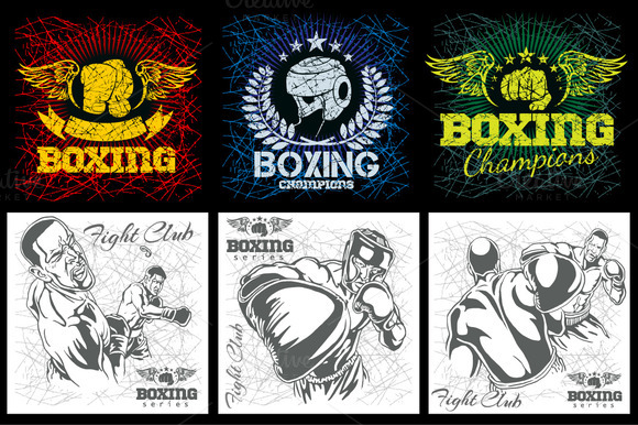Boxing MMA Grunge Labels