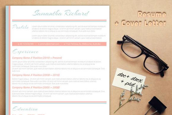 Pastel CV Cover Letter