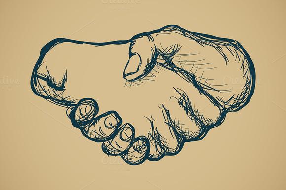 Hand Drawn Hand Shake