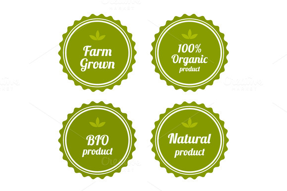 Set Of Badges On Organic Food