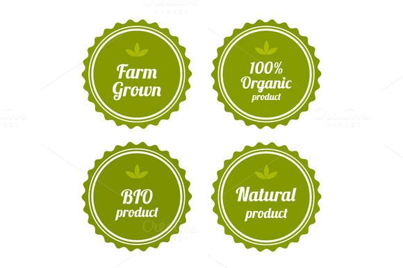 Set Of Badges On Organic Food