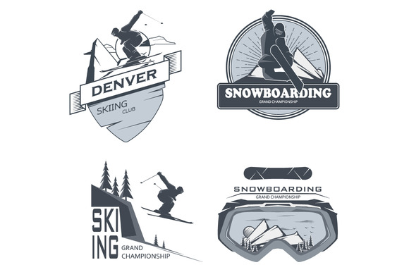 Vector Snowboarding Skiing Labels