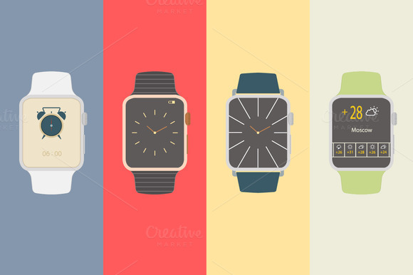 Vector Flat Smart Watches Icons