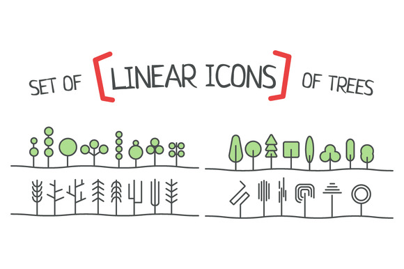 Linear Icons Of Trees