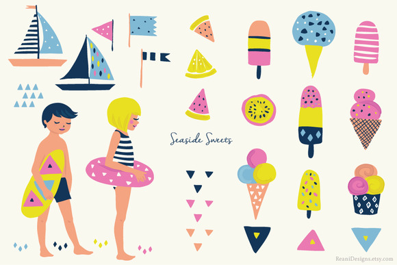 Beach Clip Art Seaside Ice Cream