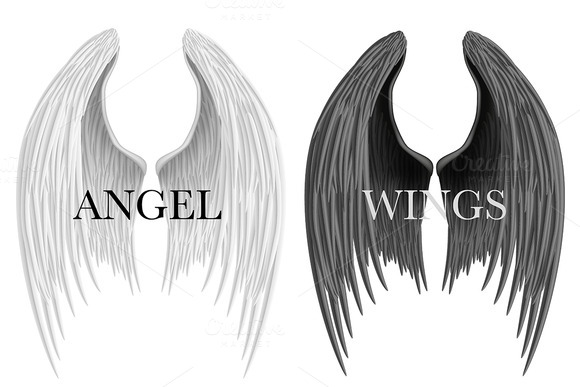 White And Black Closed Angel Wings