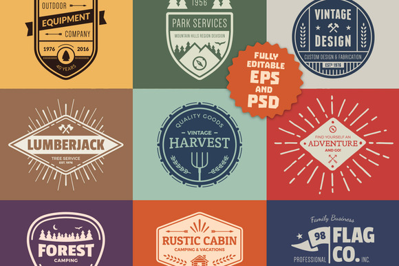 Vintage Logo Graphics Badges
