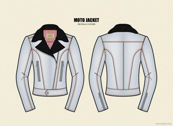 Women Moto Jacket Vector Template