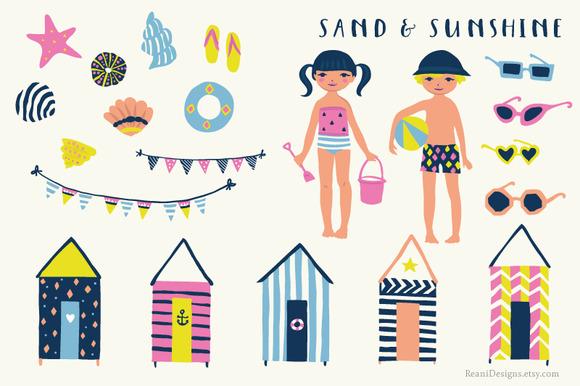 Sand And Sunshine Clip Art Set