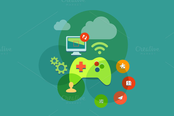 Video Game Console Flat Design Icons