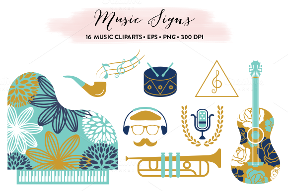 Music Cliparts Collection EPS PNG