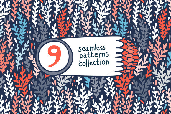 9 Sprigs Seamless Patterns