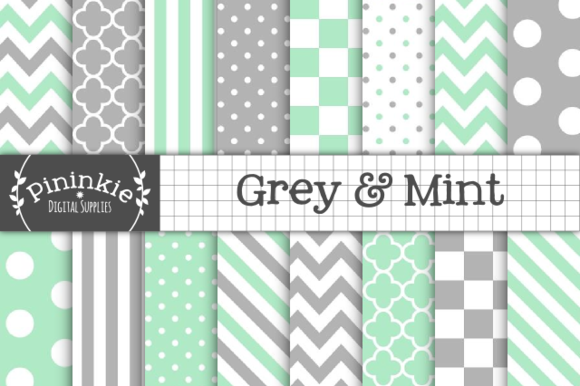 Grey Mint Digtial Paper