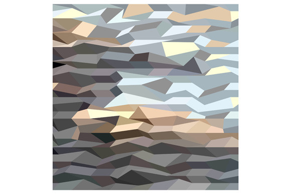 Brown Grey Abstract Low Polygon Back