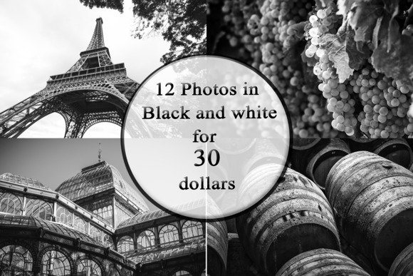 Pack Of 12 Photos In Black And White