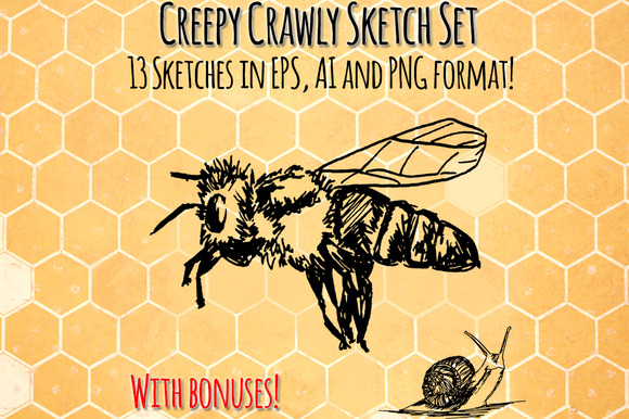 Creepy Crawly Vector Bug Sketch Set