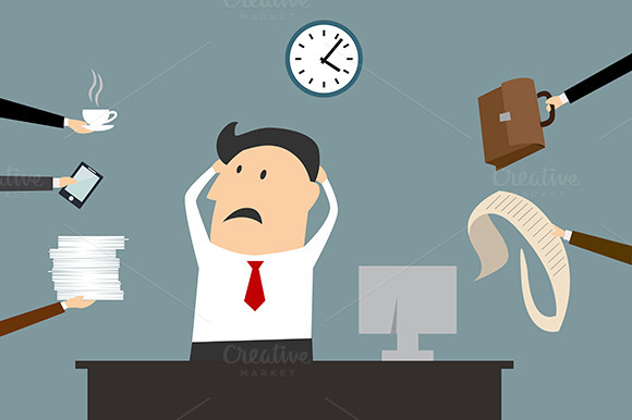 Stressed Cartooned Businessman