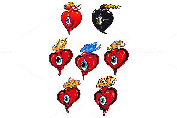 Cartoon Hearts With Eye And Fire Fla