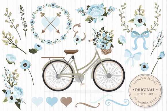 Soft Blue Vector Bicycle Flowers