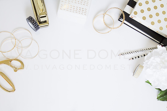 Styled Photo White Gold Desk
