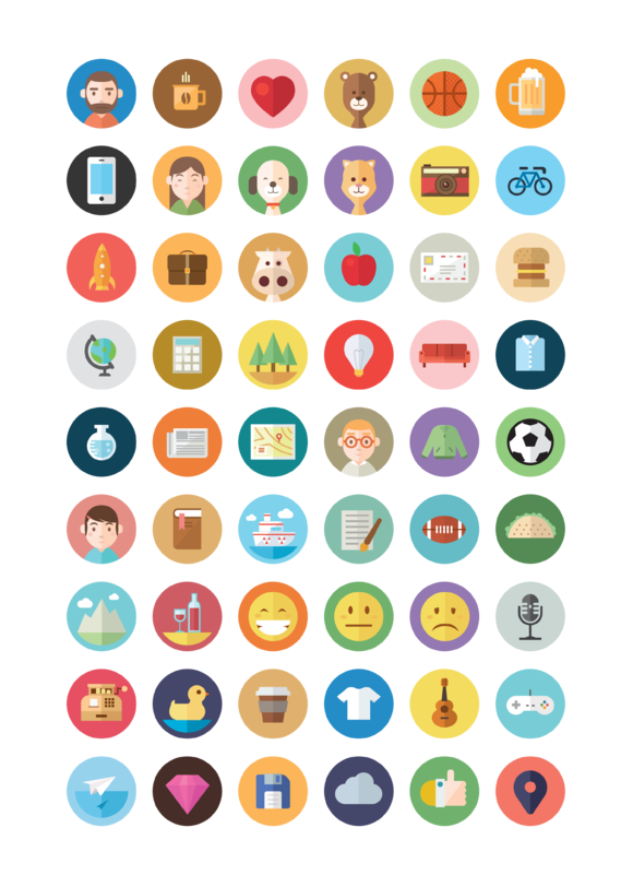 50 Illustrated Flat Icons