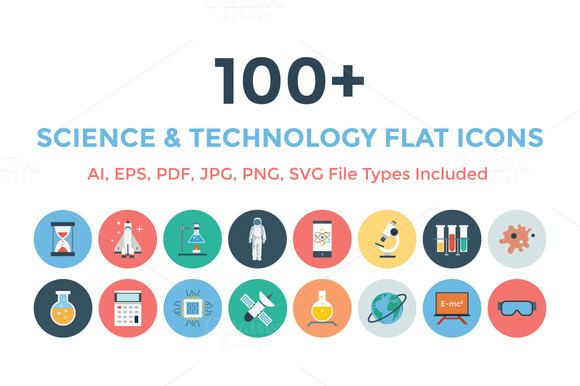 100 Science Technology Flat Icons
