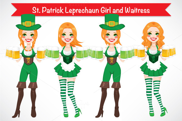 St Patrick Leprechaun Girl Waitress