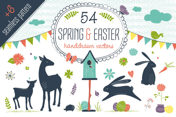 Spring Easter Vector Set