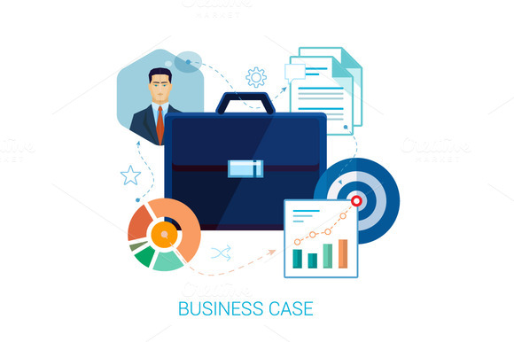 Business Case Set Of Flat Icons