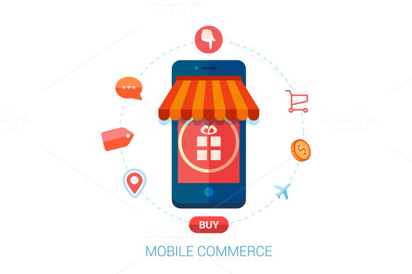 Online Mobile Shopping Flat Icons