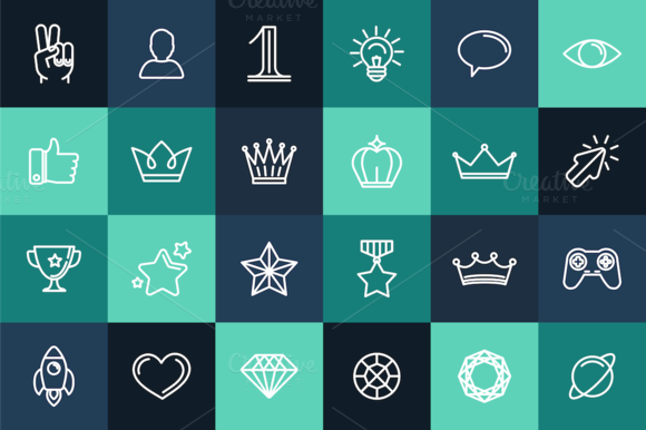 24 Linear Icons And Seamless Pattern