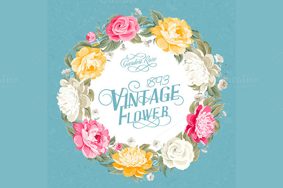 Vintage Flower Invitation Card