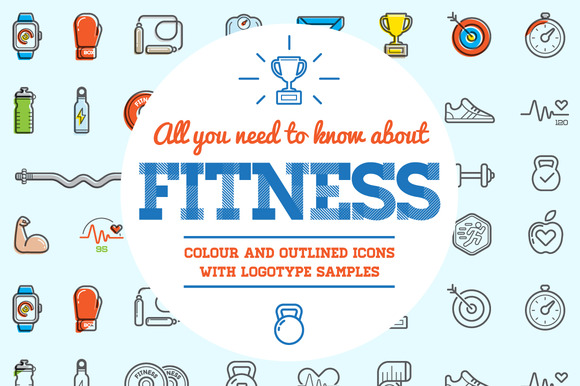 Awesome Fitness Icons And Logo Set
