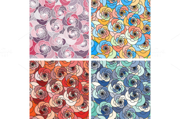 Set Of 4 Floral Seamless Pattern