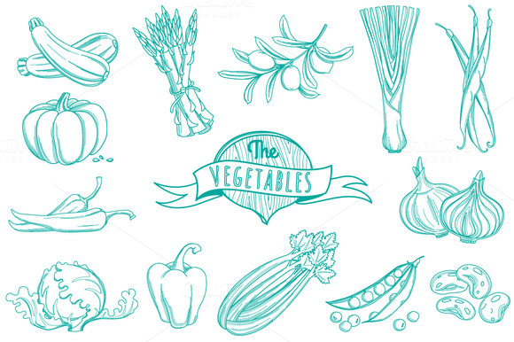 Outline Hand Drawn Vegetable Set