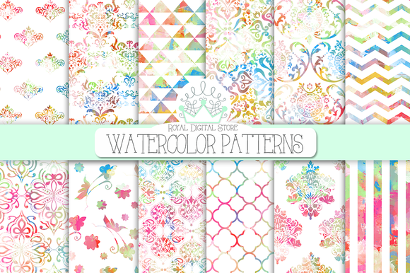 WATERCOLOR PATTERNS Digital Paper