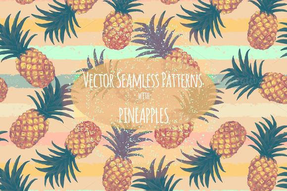 Pineapples Patterns Set Hand Drawn