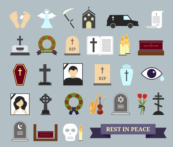 Death Ritual And Burial Icons