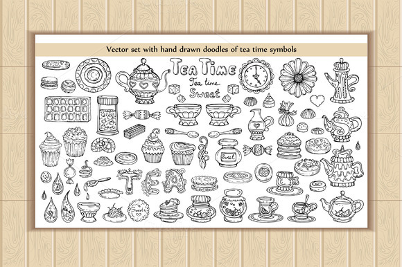Set Of Doodles With Tea Time Symbols